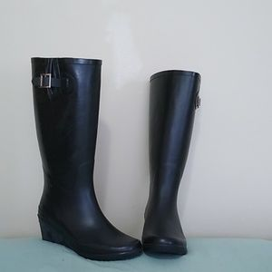 Chinese Laundry 8 Reina Black Wedge Rain Boot